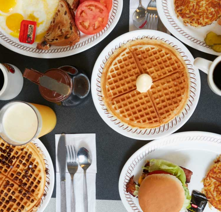 Delicious waffle house breakfast