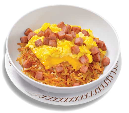 ham egg and cheese Hashbrown Bowl