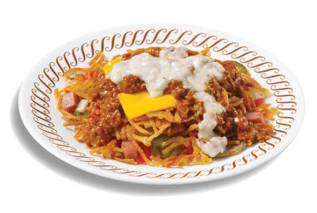 Hashbrowns scattered, smothered and covered