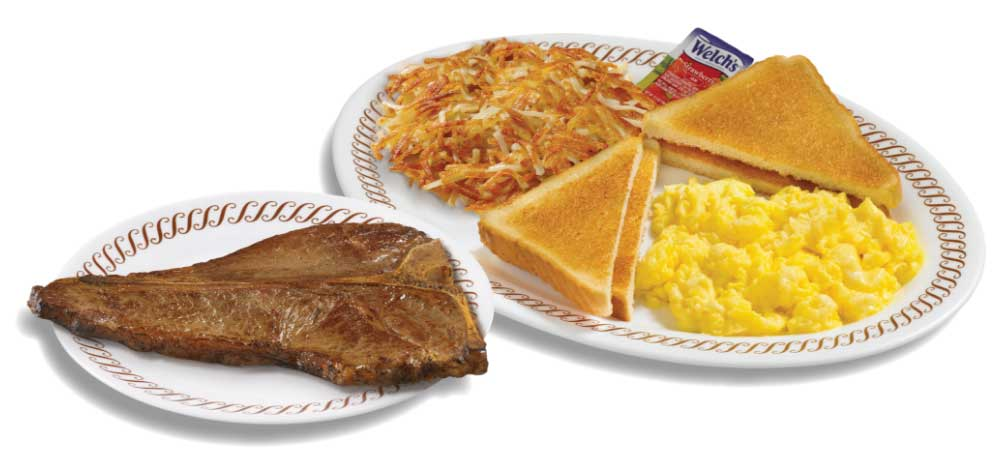 T-Bone and egg breakfast