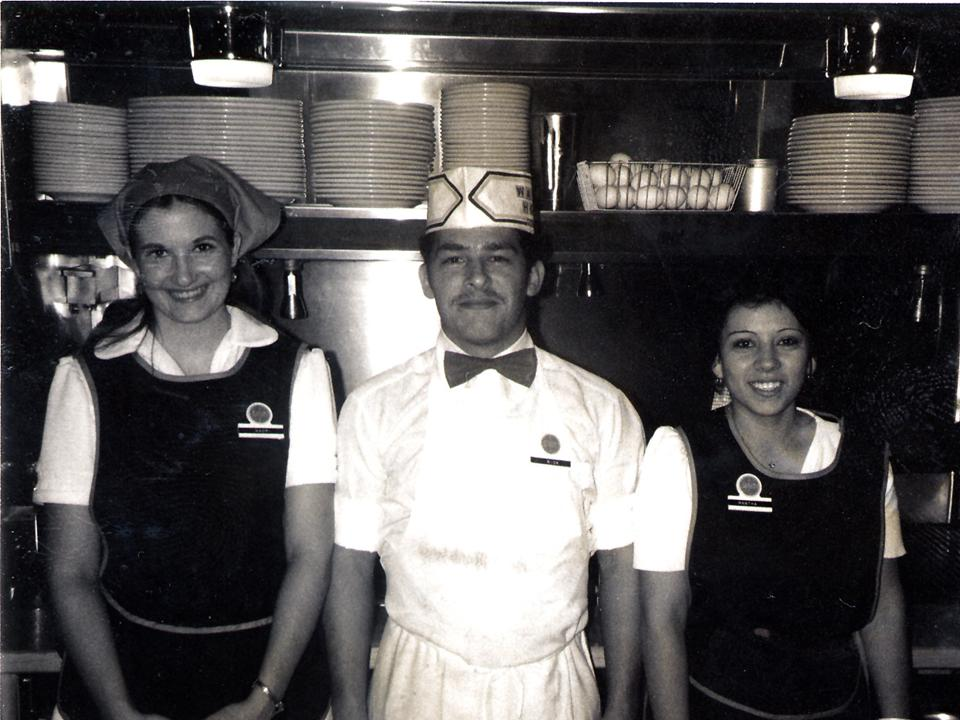 Black and white classic photo of early Waffle House employees