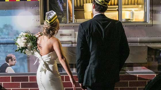Bride and Groom ordering food from Waffle House food truck