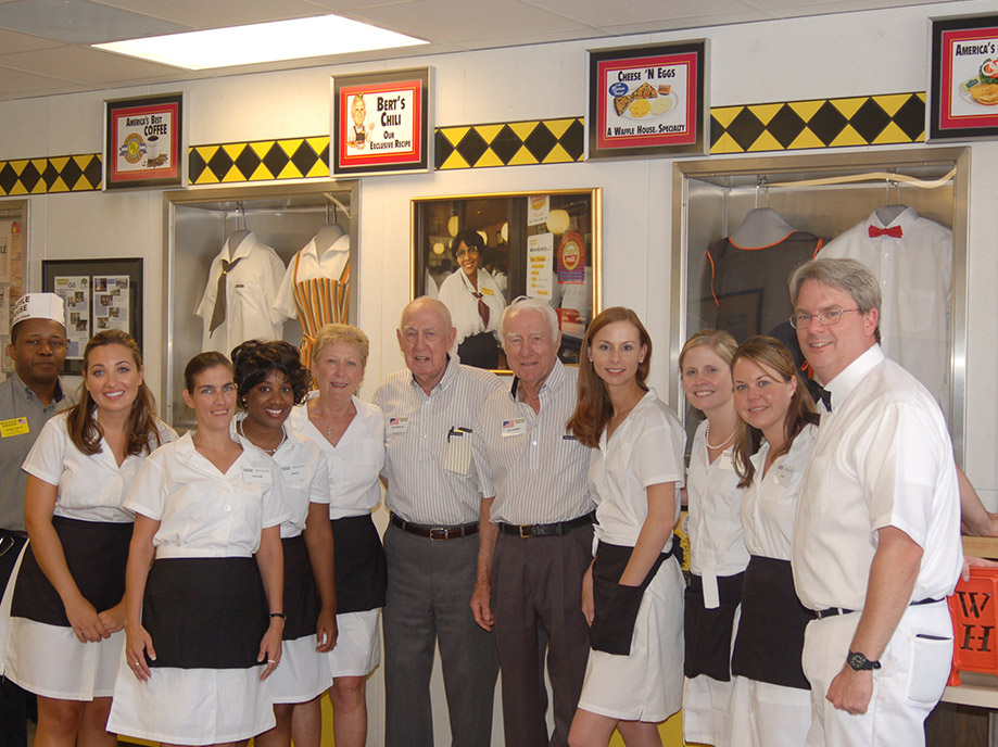 Joe Rogers Sr and Tom Forkner with Waffle House employees