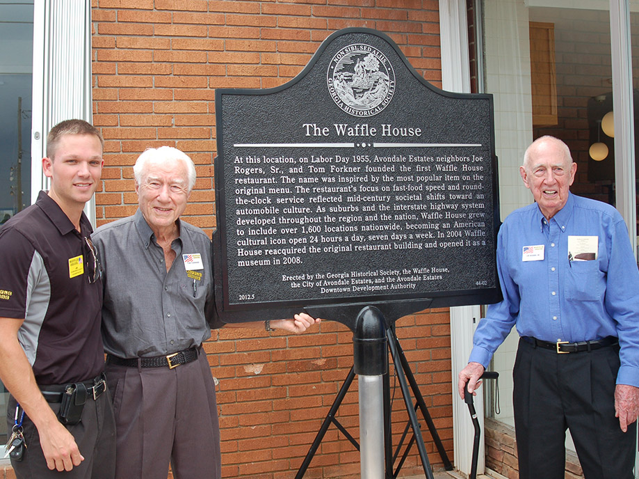 Joe Rogers Sr and Tom Forkner at the Waffle house museum plaque